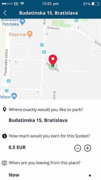 Parking position details (share and make money service) | Spotee
