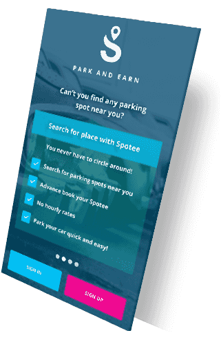 intro spotee screen (search for smart parking) | Spotee
